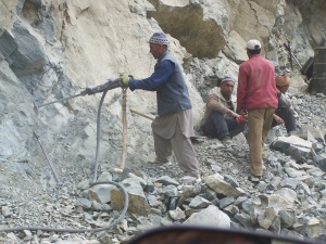 The Road Repairs along Srinagar-Leh Road
