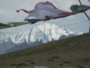 The Buddhists Flags and the Mountain on  Srinagar-Leh