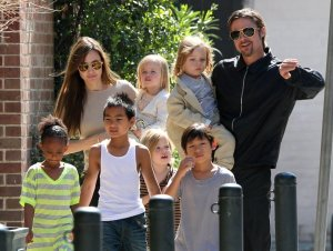 Angelina Jolie and  Brad Pit n family